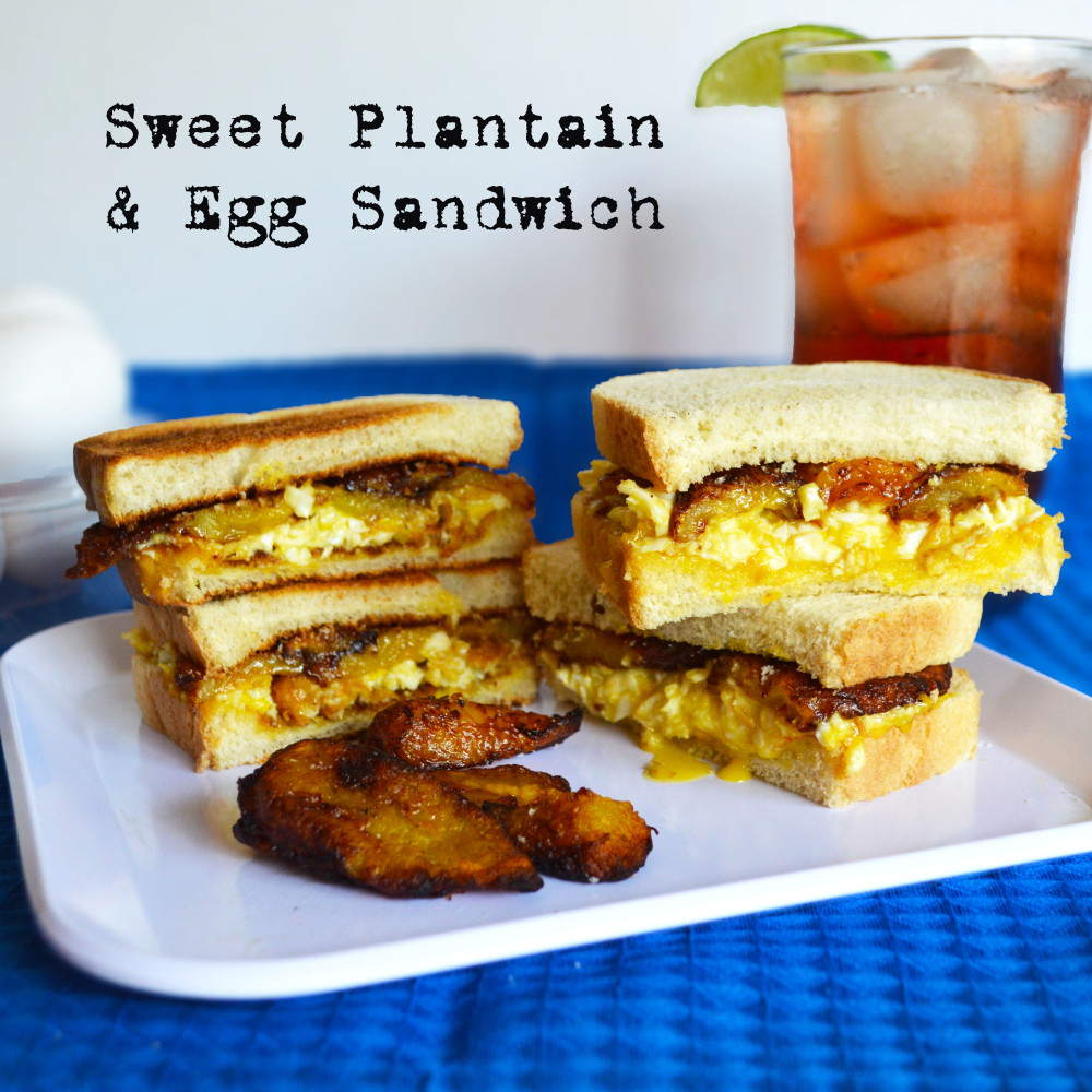 Sweet plantain and egg sanwich